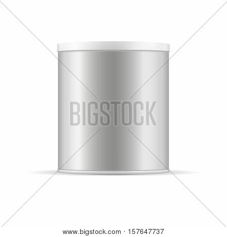 Grey tin can with plastic cap for baby powder milk tee coffee cereal grain candies cookies and other products. Vector packaging. Metallic container.