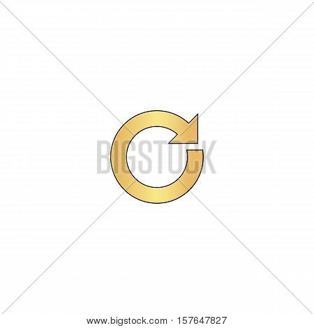 reset Gold vector icon with black contour line. Flat computer symbol