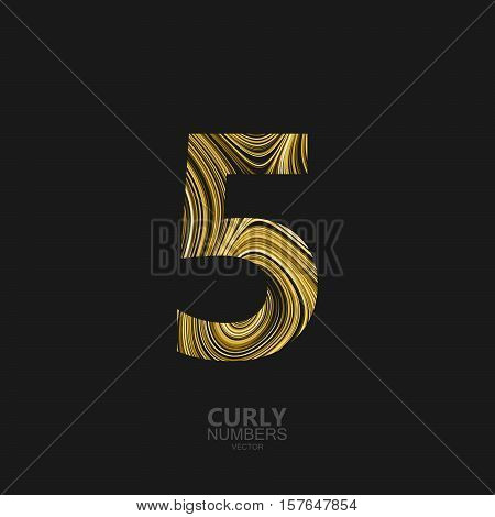 Curly textured number 5. Typographic vector element for design. Part of marble or acrylic texture imitation textured alphabet. Digit five with diffusion lines swirly pattern. Vector illustration