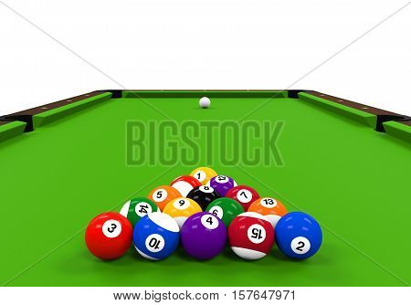 Green Billiard Table isolated on white background. 3D render