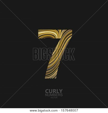 Curly textured number 7. Typographic vector element for design. Part of marble or acrylic texture imitation textured alphabet. Digit seven with diffusion lines swirly pattern. Vector illustration