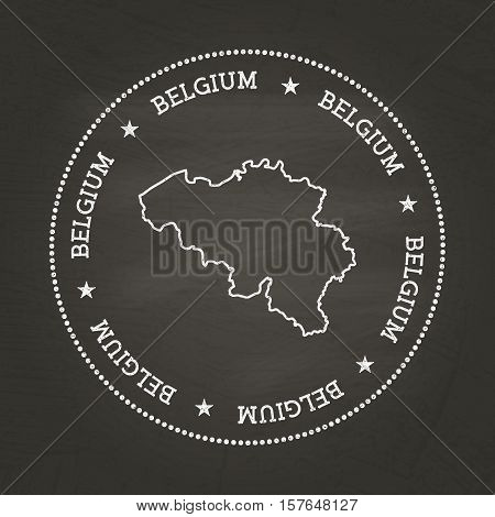White Chalk Texture Vintage Seal With Kingdom Of Belgium Map On A School Blackboard. Grunge Rubber S