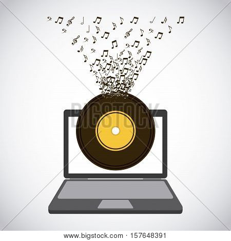 laptop computer with longplay with musical notes icons. colorful design. vector illustration