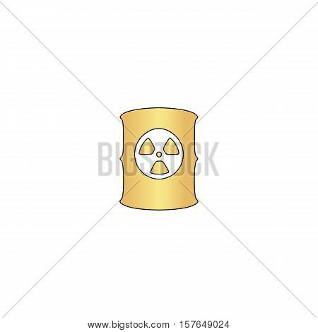 Radioactive waste Gold vector icon with black contour line. Flat computer symbol