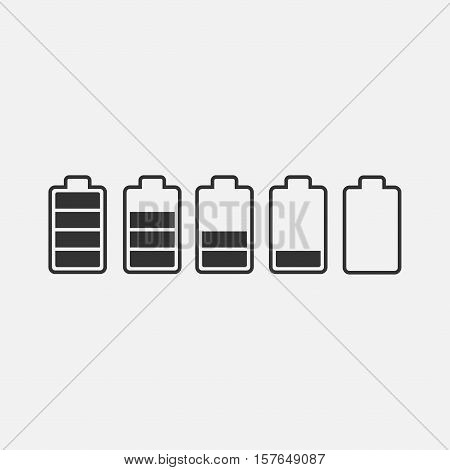 Battery power vector icon set. Battery charge level icon isolated from the background. Battery Indicator black symbols.