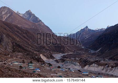 Mountain Village Of Thame In Sagarmatha National Park, Himalayas, Nepal. Asian Village In Mountain G