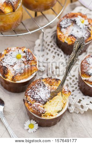 Sweet cottage cheese souffle with sultana raisins for dessert