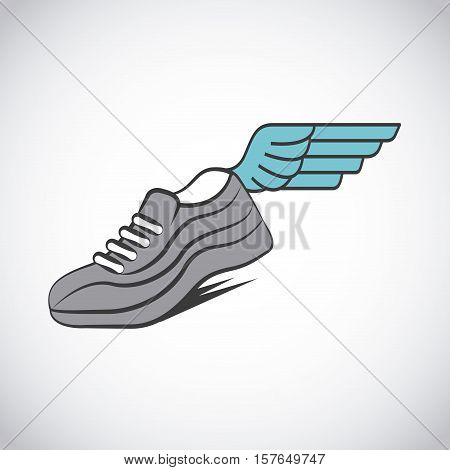 sport running shoues with wing over white background. colorful design. vector illustration