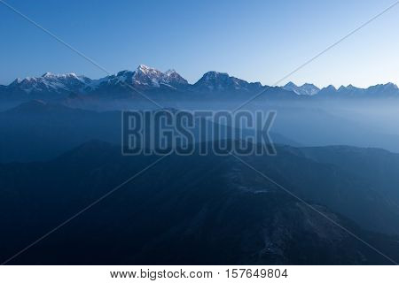 Mystic Mountain Early Morning Landscape In Himalayas, Nepal. Blue Hour Mystic Mountains Scenery With