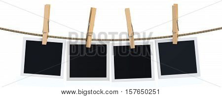 Blank instant photo hanging on the clothesline 3D rendering isolated on white background