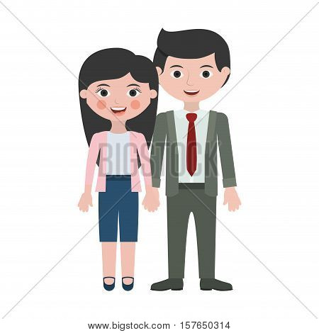 couple of executive togheter in love vector illustration