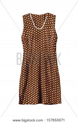 Polka dots brown sleeveless dress on white background