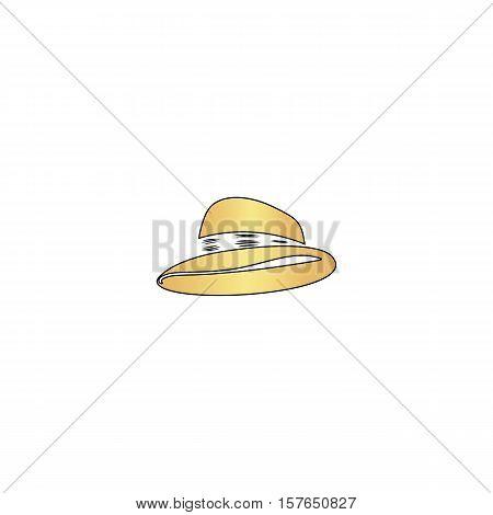 cowboy hat Gold vector icon with black contour line. Flat computer symbol