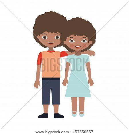 brunette couple kids with curly hair embraced vector illustration