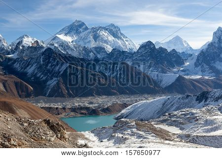 Mount Everest And Gokyo Lake Panoramic View. Himalayas Mountains Landscape With Emerald Blue Waters