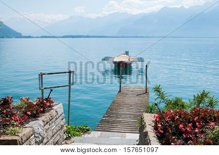 A row boat on lake Geneva in Montreux, Switzerland
