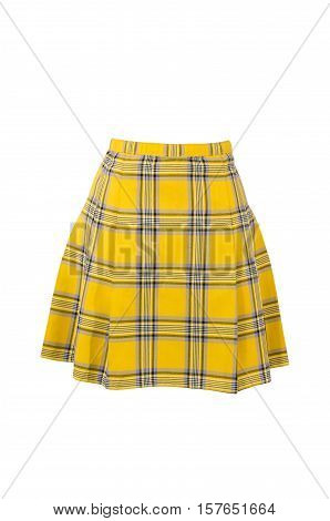 Plaid skirt isolated on white background. Yellow tartan wool short skirt cut out on white.