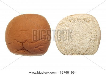 Top and cross section view of hamburger bun isolated on white background
