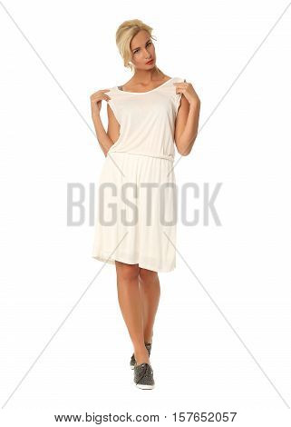 People Of Flirtatious Woman In White Tunic Dress Isolated On White