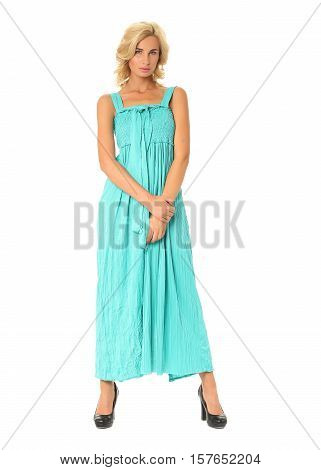 Portrait Of Flirtatious Woman In Turquoise Maxi Dress Isolated On White