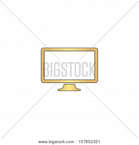 Monoblock PC Gold vector icon with black contour line. Flat computer symbol