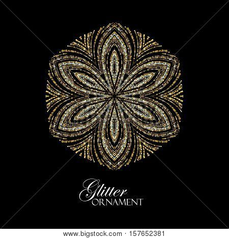 Luxury festive ornament with shiny silver and golden glitters. Vector illustration. Vintage glittering ornament. Jewelery pattern. Holiday decoration