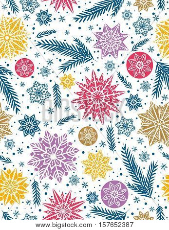 Christmas seamless pattern background with snowflakes and stars vector illustration