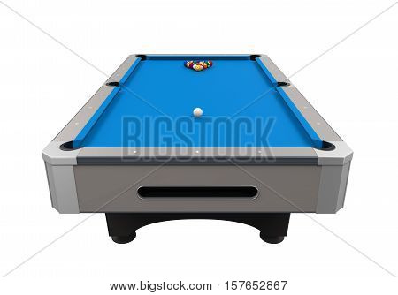 Blue Billiard Table isolated on white background. 3D render