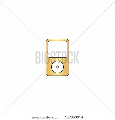 mp3 player Gold vector icon with black contour line. Flat computer symbol