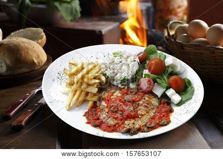 meat rice vegetables potato