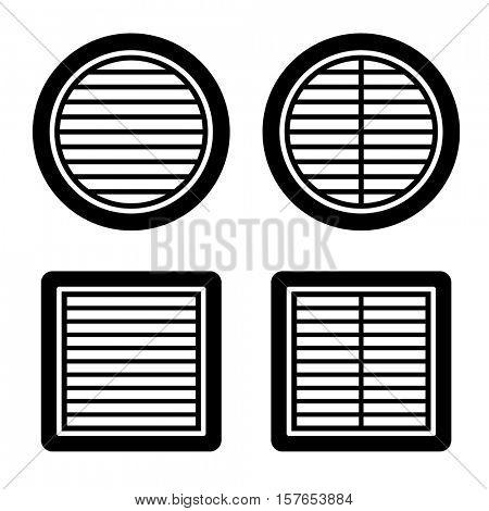 ventilation grille black symbol vector