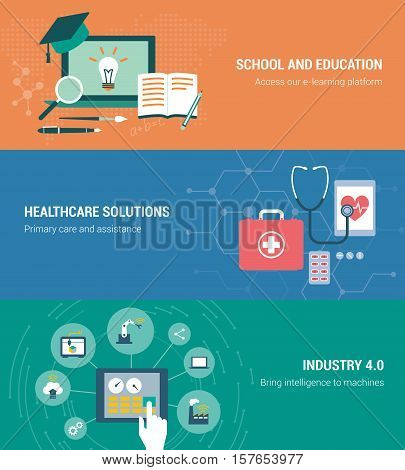 Education healthcare and industry banners set with laptop and tablets