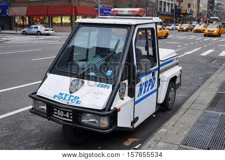 NEW YORK CITY - JAN 12, 2013: NYPD Tricycle police car in downtown Manhattan, New York City, USA.
