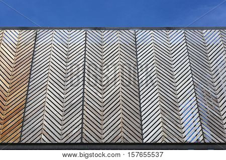 Background texture of wood lath sunshade and sky