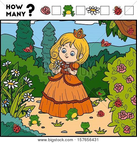 Counting Game For Preschool Children. Princess And Background