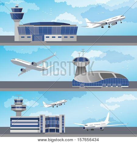 Airport building set with control towers ans planes. Flat design. Vector Illustration