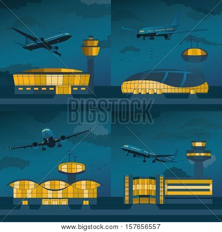Night airport building set with control towers ans planes. Flat design. Vector Illustration