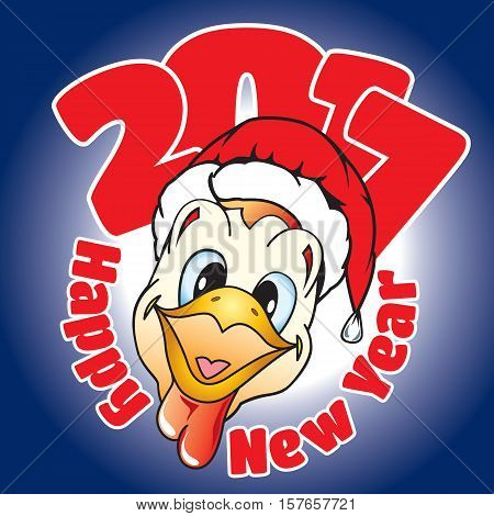 card with congratulation on a New Year in cartoon style in the form of a rooster head in hat Santa