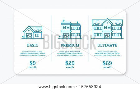Vector illustration of pricing subscription plan table template for web apps and applications in line style with houses. UI UX interface design elements. Price list 3 options plans for online services