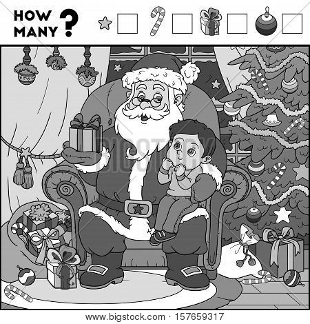Counting Game For Children. Santa Claus And Background