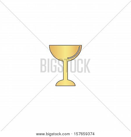 chalice Gold vector icon with black contour line. Flat computer symbol