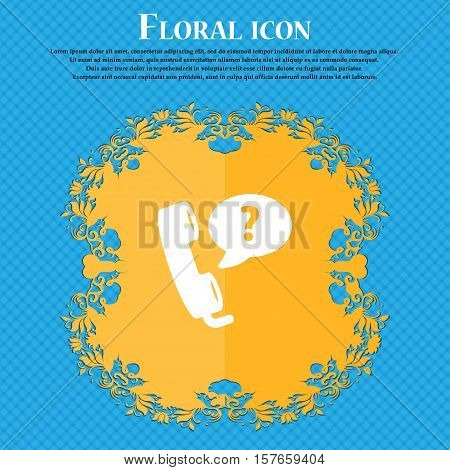 Telemarketing Icon Sign. Floral Flat Design On A Blue Abstract Background With Place For Your Text.