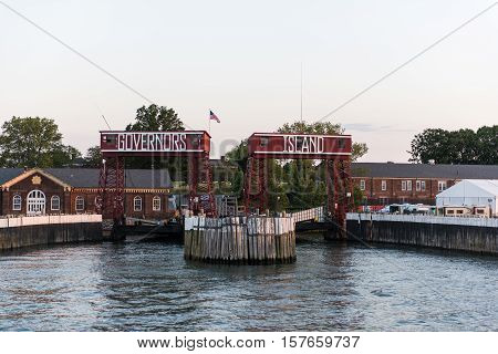 NEW YORK, NY - JUNE 18, 2016: Ferry entrance to Governors Club on Governor's Island on June 18, 2016 in New York City