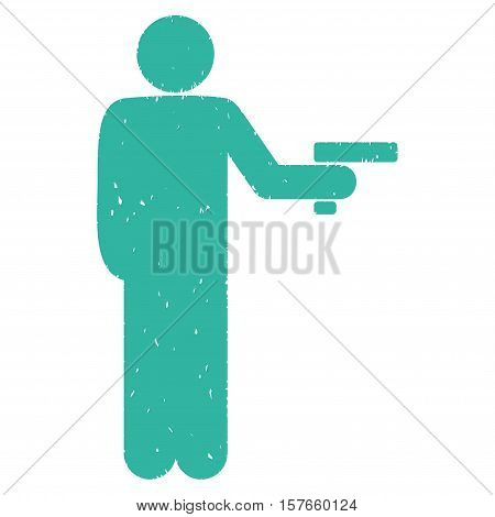 Robber With Gun grainy textured cyan icon for overlay watermark stamps. Flat symbol with dust texture. Dotted vector ink rubber seal stamp with grunge design on a white background.