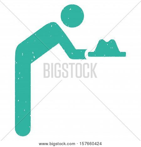 Servant With Hat grainy textured cyan icon for overlay watermark stamps. Flat symbol with unclean texture. Dotted vector ink rubber seal stamp with grunge design on a white background.