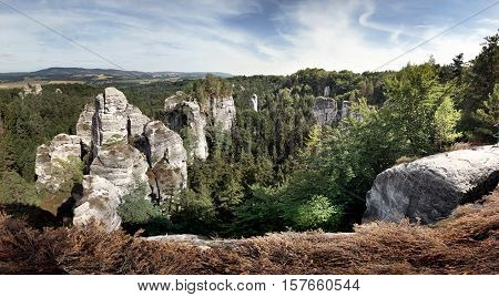 Panoramic view of sandstone rocks in Bohemian Paradise, Czech republic