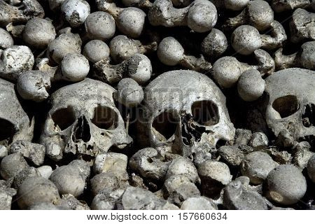 Scary skulls and bones in the Sedlec Ossuary near Kutna Hora, Czech republic