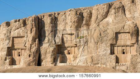 Naqsh-e Rustam, an ancient necropolis in Pars Province, Iran. Panorama view
