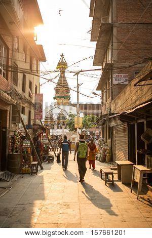 Kathmandu, Nepal - April 27, 2016: Streets scene near Kathesimbu Stupa  in Kathmandu, Nepal