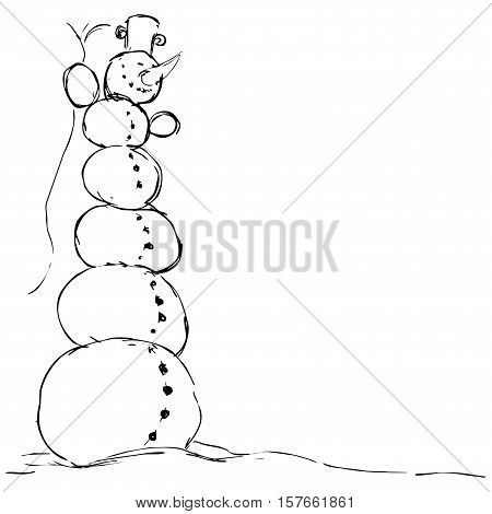 hilarious tall snowman - vector illustration black sketch